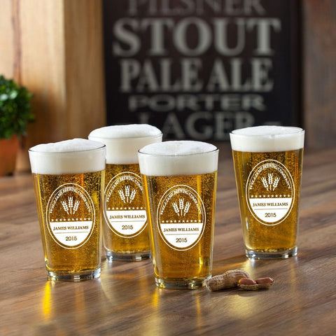 Personalized Pint Glasses - Set of 4 - Groomsmen Gifts - BrewingCo - Personalized Barware - AGiftPersonalized