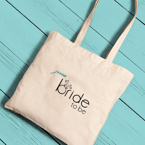 Personalized Bride and Bride to Be Canvas Tote Bags -  - JDS