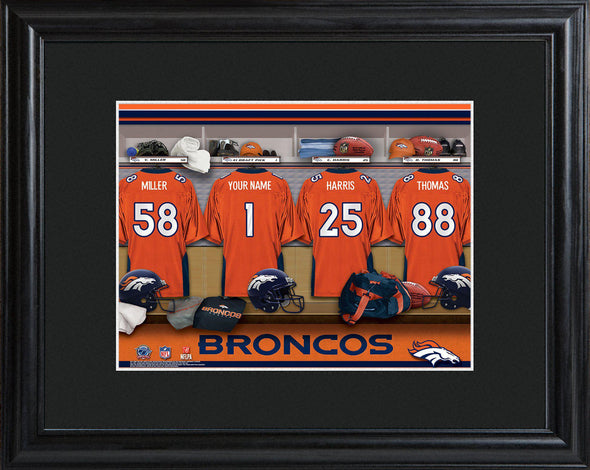 Personalized NFL Locker Sign w/Matted Frame - All Teams - Broncos - JDS