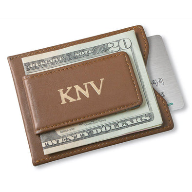 Personalized Brown Magnetic Money Clip & Wallet - Gold - JDS