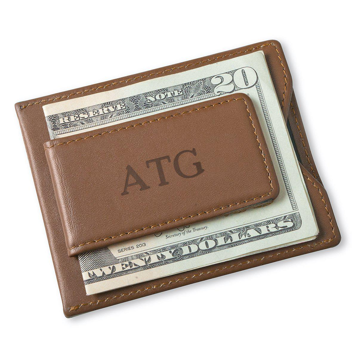 Personalized Brown Magnetic Money Clip & Wallet