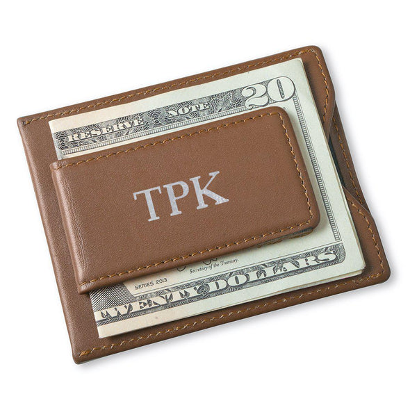 Personalized Brown Magnetic Money Clip & Wallet - Silver - JDS