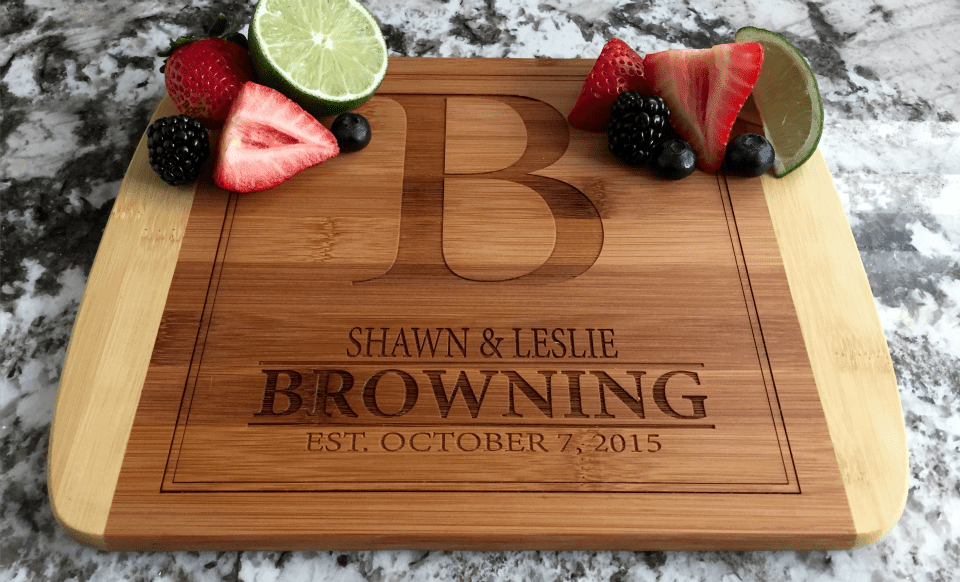 Personalized 8.5x11 Bamboo Cutting Board with Rounded Edge