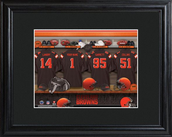 Personalized NFL Locker Sign w/Matted Frame - All Teams - Browns - JDS