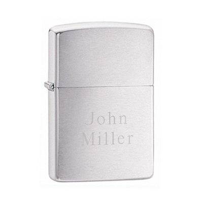Personalized Brushed Chrome Zippo Lighter -  - Zippo