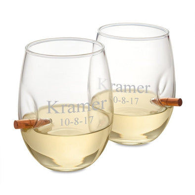 Personalized Bullet Wine Glasses - Set of 2 - 2lines - JDS