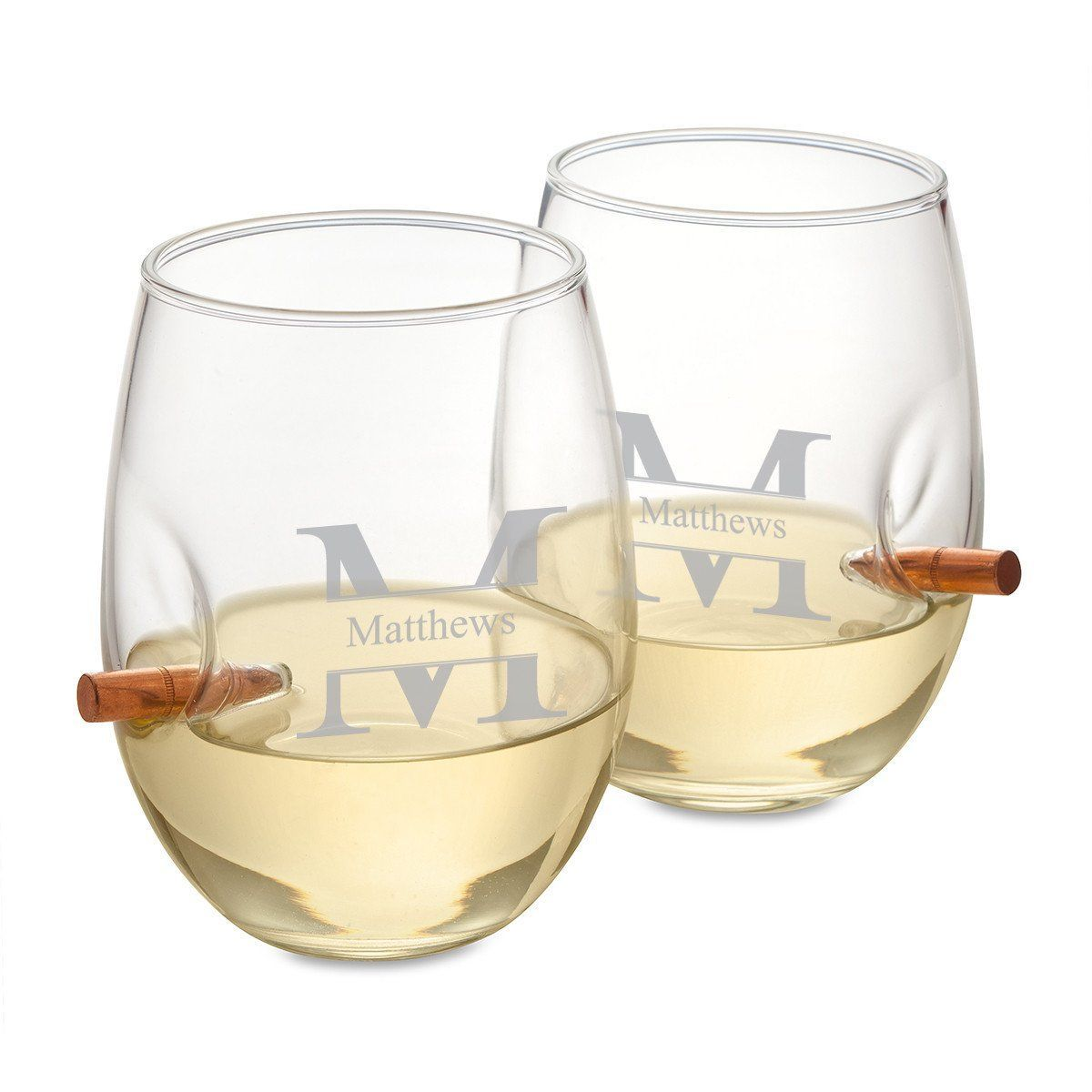 Personalized Bullet Wine Glasses - Set of 2