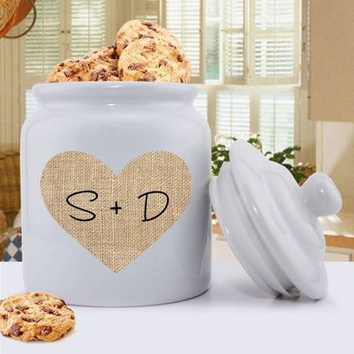 Personalized Couples Burlap Cookie Jar -  - JDS