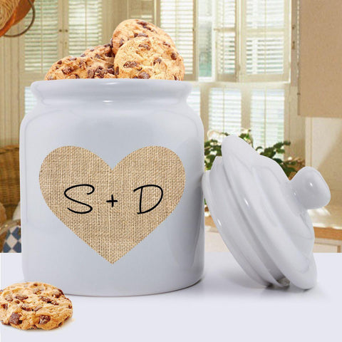 Personalized Couples Burlap Cookie Jar -  - Home Decor - AGiftPersonalized