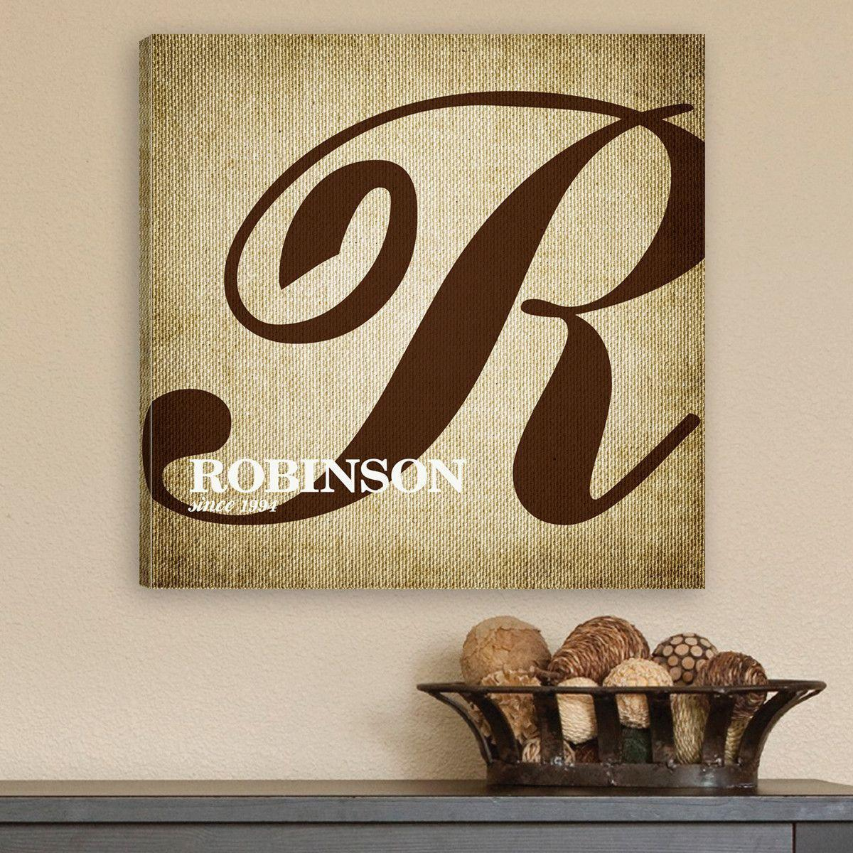 Personalized Sign - Family Initial - Canvas Sign