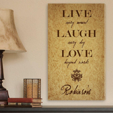 Personalized Canvas Sign - Live Every Moment -  - JDS