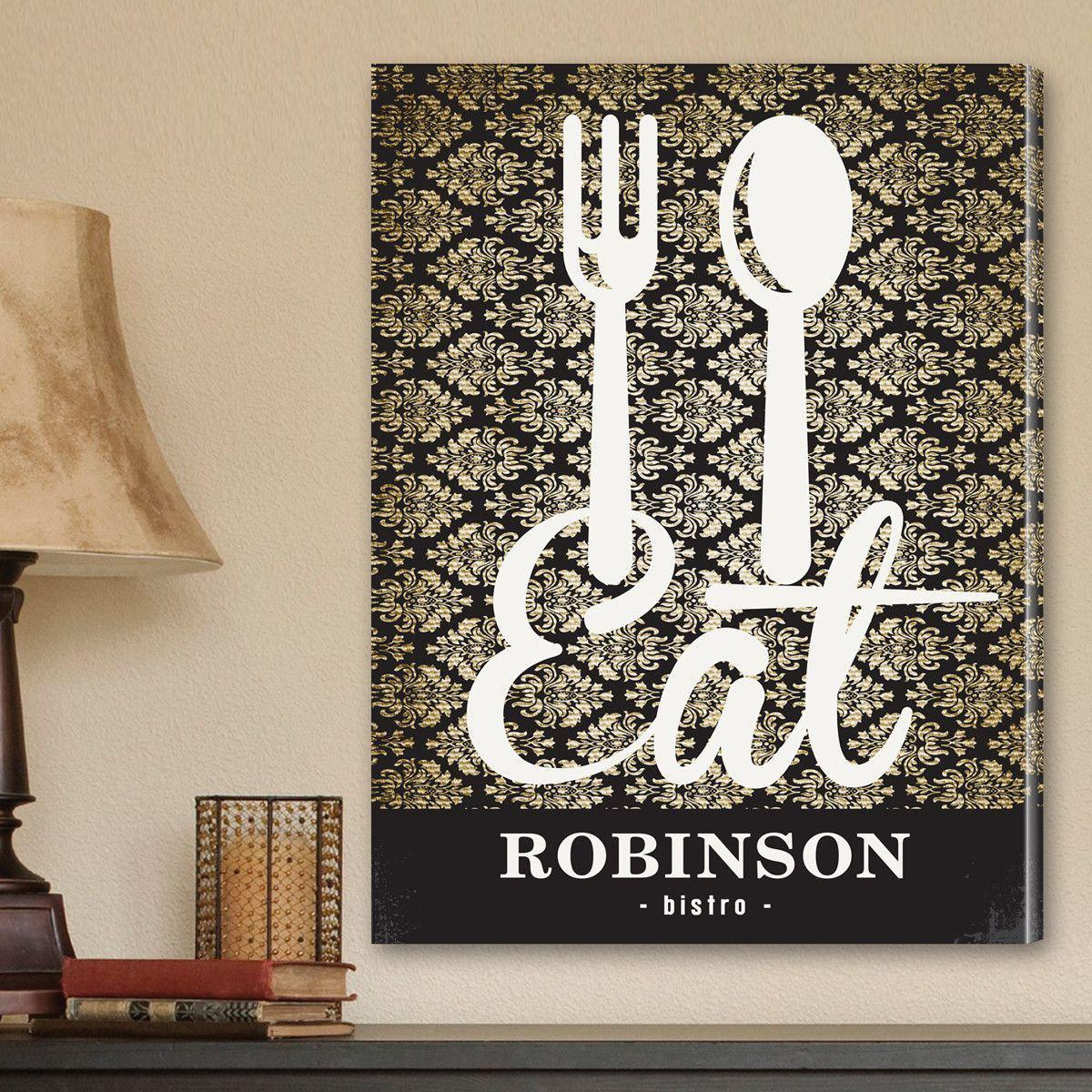 Personalized Family Bistro Canvas Sign