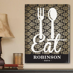 Personalized Family Bistro Canvas Sign -