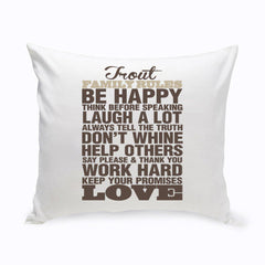 Personalized Rustic Family Rules Throw Pillow -
