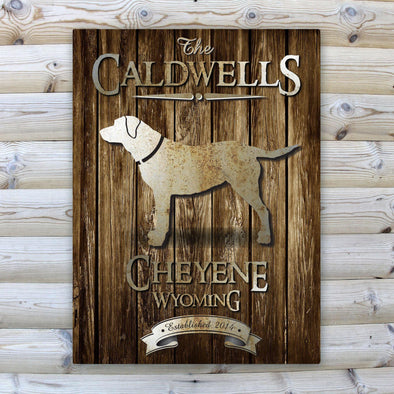 Personalized Rustic Wood Cabin Canvas Sign - Lab - JDS