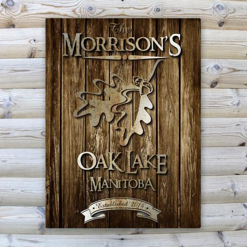 Personalized Rustic Wood Cabin Canvas Sign - OakLeaf - JDS