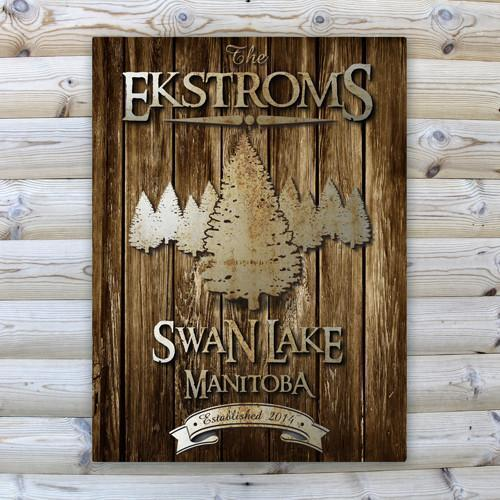Personalized Rustic Wood Cabin Canvas Sign - Spruce - JDS