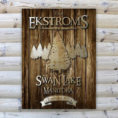 Personalized Rustic Wood Cabin Canvas Sign at AGiftPersonalized