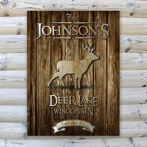 Personalized Rustic Wood Cabin Canvas Sign - Stag - JDS