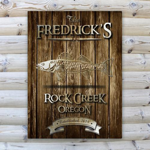 Personalized Rustic Wood Cabin Canvas Sign - Walleye - JDS