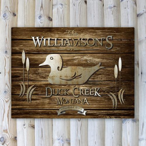 Personalized Rustic Wood Cabin Canvas Sign - Duck - JDS