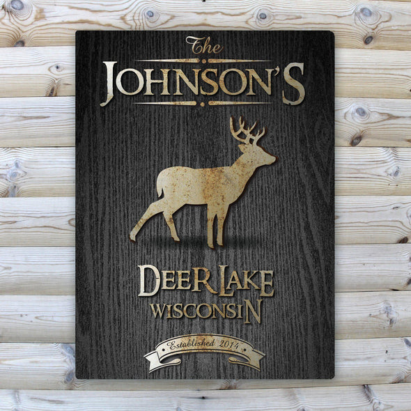 Personalized Wood Gain Welcome to the Lake Canvas Sign - Stag - JDS