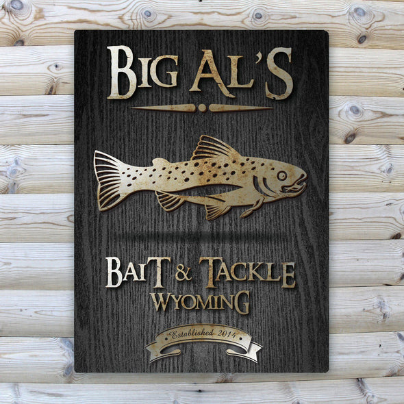 Personalized Wood Gain Welcome to the Lake Canvas Sign - Trout - JDS