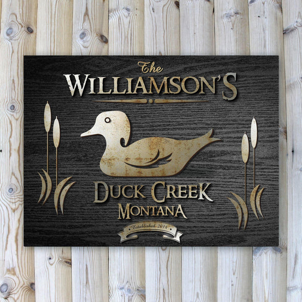 Personalized Wood Gain Welcome to the Lake Canvas Sign - Duck - JDS