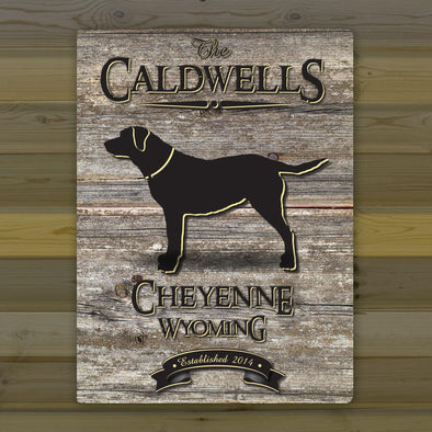 Personalized Weathered Wood Welcome to the Lake Canvas Sign - Lab - JDS