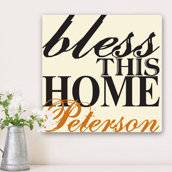 Personalized Bless This Home Canvas Sign -  - JDS