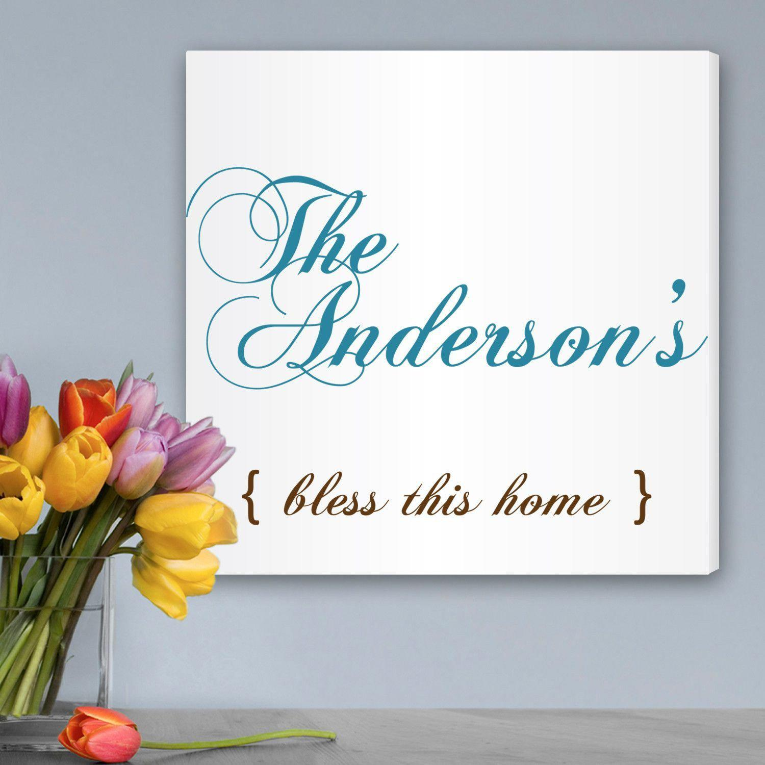 Personalized Bless This Home Canvas Sign