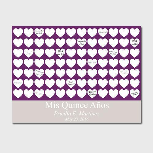 Personalized Quinceanera Guestbook Canvas -Plum Hearts