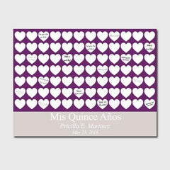 Personalized Quiceanera Guestbook Canvas -Plum Hearts