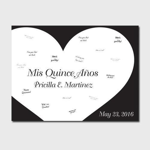 Personalized Quiceanera Guestbook Canvas -Black & White -