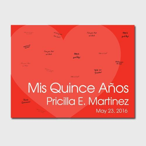 Personalized Quinceanera Guestbook Canvas -Red