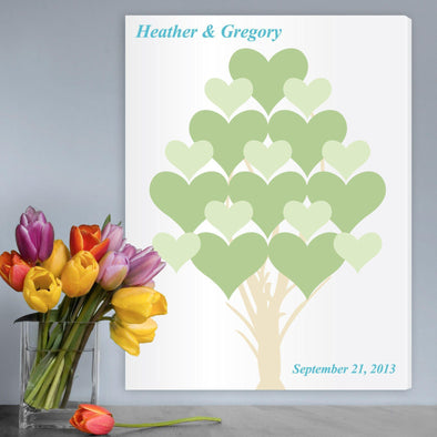 Personalized Flourishing Hearts Wedding Guestbook Canvas -  - JDS