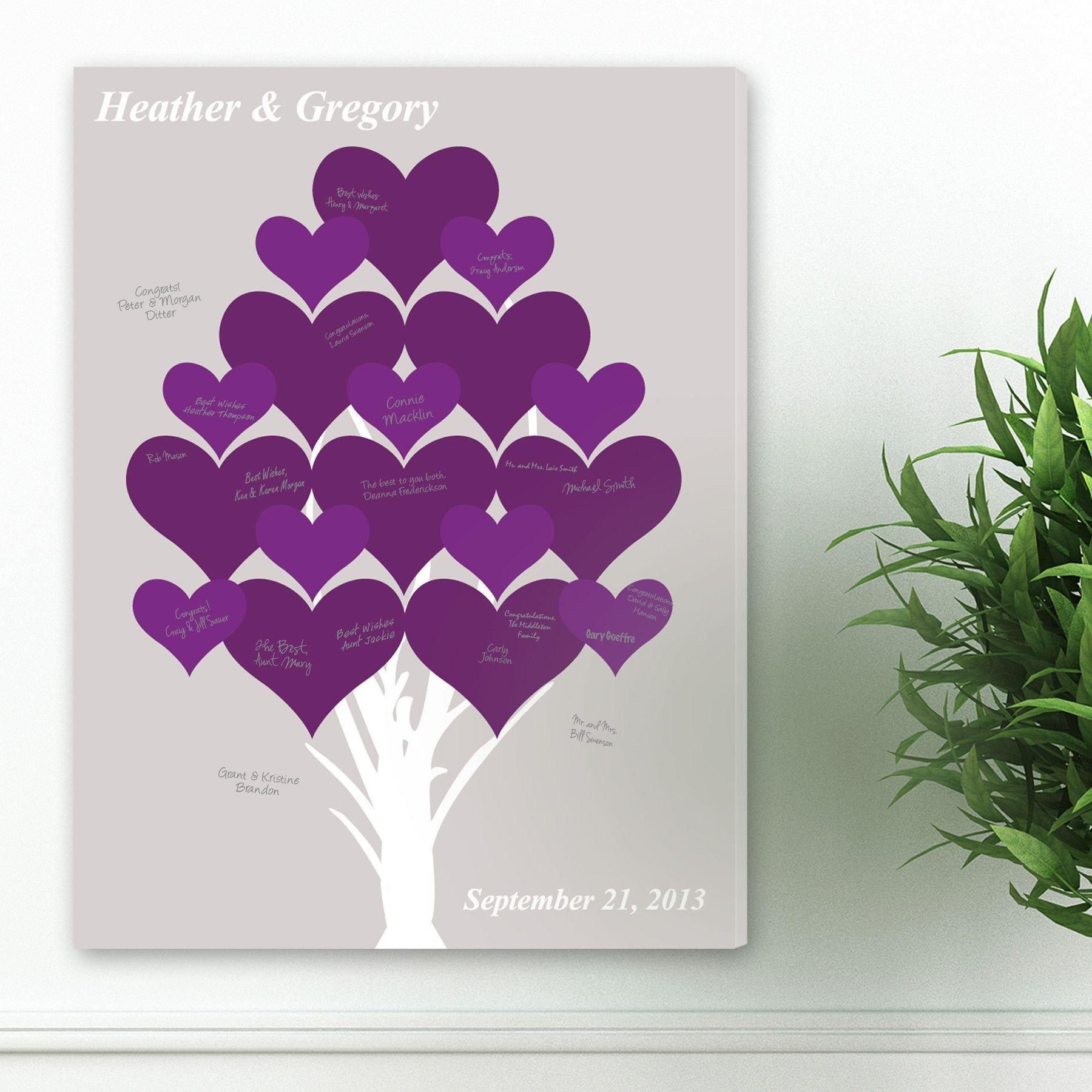 Personalized Branches of Love Wedding Guestbook Canvas