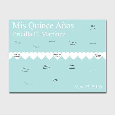 Personalized Quinceanera Guestbook Canvas -Paperhearts -  - JDS