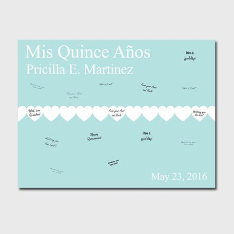 Personalized Quiceanera Guestbook Canvas -Paperhearts -  - Canvas Prints - AGiftPersonalized