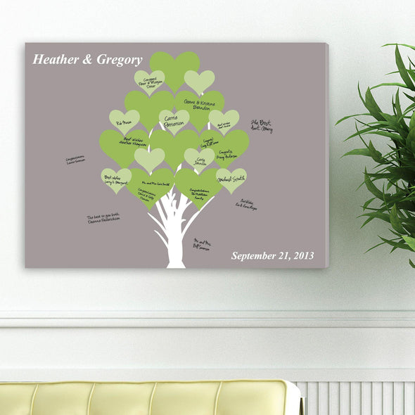 Personalized Guestbook Canvas - Tree of Hearts -