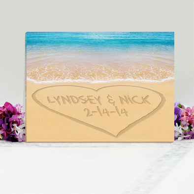 Personalized Caribbean Heart in Sand Canvas Sign -  - JDS