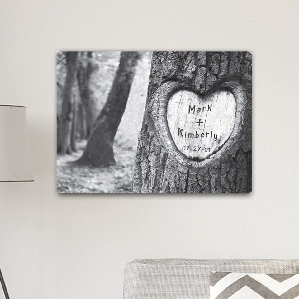 Personalized Everlasting Love Tree Carving Canvas Sign