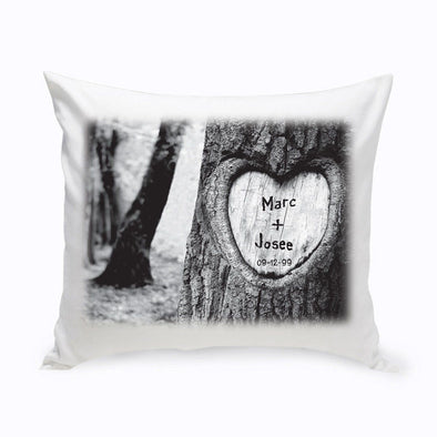Personalized Everlasting Love Tree Carving Throw Pillow -  - JDS