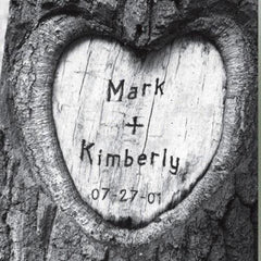 Personalized Everlasting Love Tree Carving Canvas Sign -