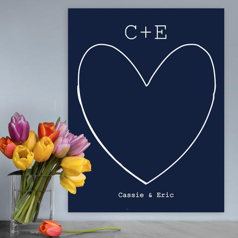 """Our Story"" Personalized Couples Canvas Signs - Navy - Canvas Prints - AGiftPersonalized"