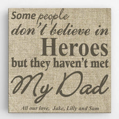 Personalized My Dad, My Hero Canvas Sign -  - Canvas Prints - AGiftPersonalized