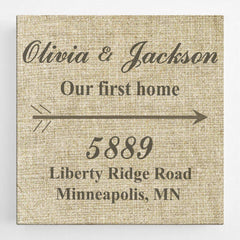 Personalized Our First Home Canvas Sign -