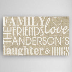 Personalized Family & Friends Canvas Print - Burlap Design -