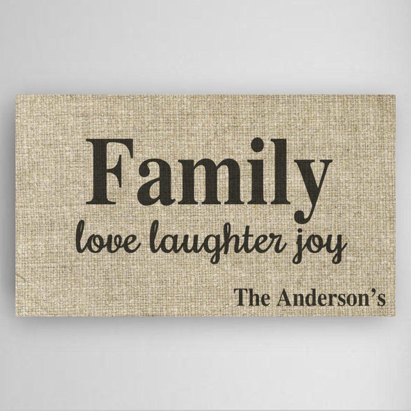 Personalized Love Laughter & Joy Family Canvas Sign -  - JDS