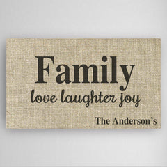 Personalized Love Laughter & Joy Family Canvas Sign
